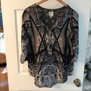 Fig and Flower Anthropologie Patterned Button Top